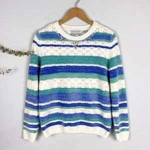 Alfred Dunner Icy Jeweled Collar Chenille Sweater
